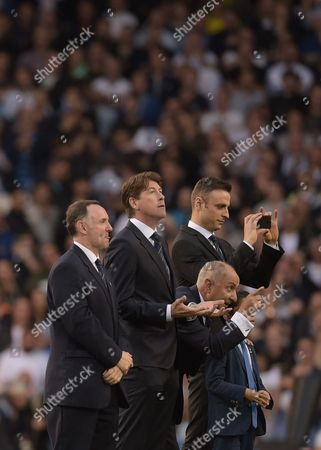 Former Tottenham Hotspur players including Ossie Ardiles and Dimitar Berbatov celebrate 'The Finale' during the Premier League match between Tottenham Hotspur and Manchester United played at White Hart Lane, London on 14th May 2017