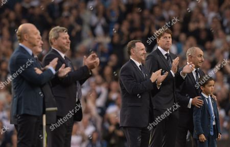 Stock Image of Former Tottenham Hotspur players including Ossie Ardiles celebrate  'The Finale' during the Premier League match between Tottenham Hotspur and Manchester United played at White Hart Lane, London on 14th May 2017