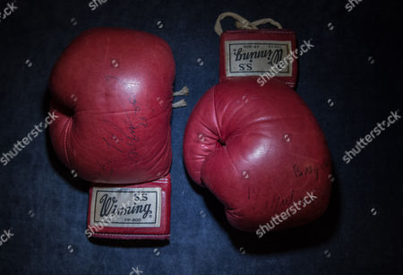 Editorial picture of Muhammad Ali's gloves from World Heavyweight Championship fight photocall, Sotheby's, London, UK - 14 May 2017