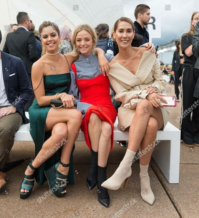 (L-R) Mimi Elashiry, Nadia Fairfax and Lindy Klim attending the Dion Lee show show during the Mercedes-Benz Fashion Week Australia in Sydney, 14 May  2017. The event runs from 14 to 19 May 2017.