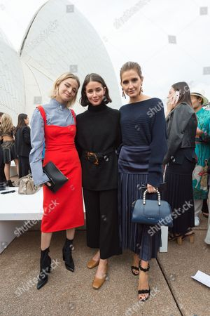 (L-R) Nadia Fairfax, Sarah Donaldson and Kate Waterhouse attend the Dion Lee show show during the Mercedes-Benz Fashion Week Australia in Sydney, 14 May  2017. The event runs from 14 to 19 May 2017.
