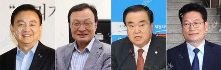 This combined photo of undated filers made available 14 May 2017 shows Hong Seok-hyun (L), a former chairman and CEO of the JoongAng Media Network; former Prime Minister Lee Hae-chan (2-L); Democratic Party Reps. Moon Hee-sang (2-R) and Song Young-gil (R). The four were picked as South Korean President Moon Jae-in's special envoys to the United States, China, Japan and Russia, respectively, a source said 14 May 2017.