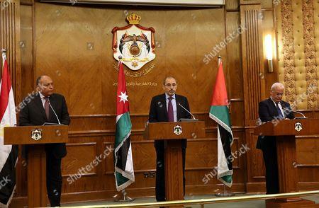 Ayman Safadi, Sameh Shoukry and Saeb Erekat