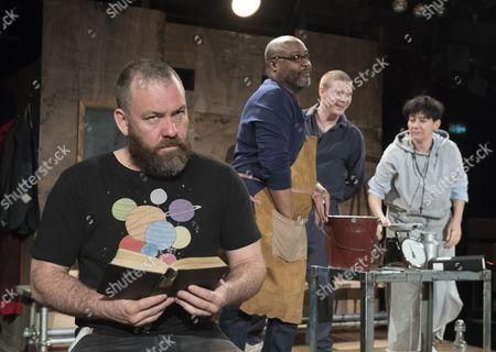 Stock Picture of Brendan Cowell as Galileo, Jason Barnett as Federzoni, Alex Murdoch as Little Monk, Billy Howle as Andrea