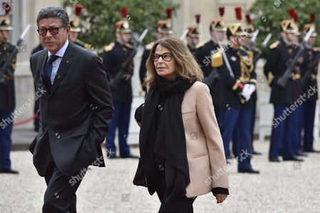 Bettina Rheims with her husband Jean-michel Darrois arrives at the presidential Elysee Palace