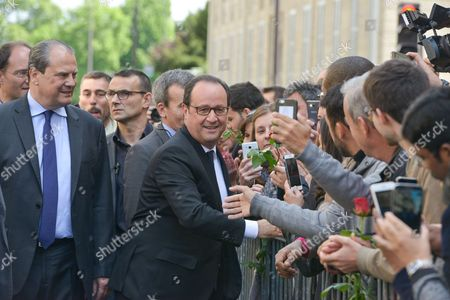 After the takeover ceremony between outgoing President Francois Hollande and President-elect Emmanuel Macron at Elysee Palace, this morning the 14 May, 2017, Francois Hollande was at the headquarters of the Socialist Party rue Solferino, to make a speech, received by Jean-Christophe Cambadelis, First Secretary of the Socialist Party, surrounded by Patrick Kanner, former Minister of Sports, Stephane Le Foll, former Minister of Agriculture, Myriam El Khomri, Minsiter of Labor, George Pau-Langevin, former Minister of Dom-Tom