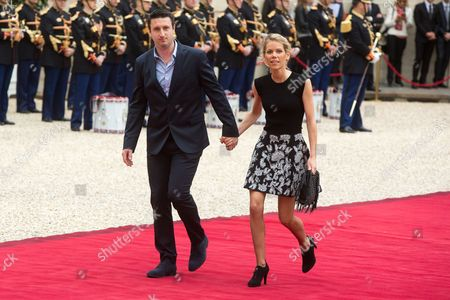 Macron's step-daughter Tiphaine Auziere (R) and her husband Antoine Choteau at the presidential Elysee Palace for Emmanuel Macron 's presidential inauguration as the 8th president of the 5th Republic