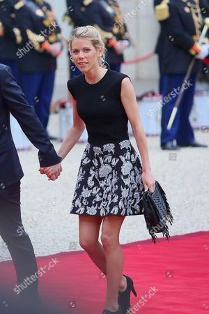 Stock Picture of Tiphaine Auziere, daughter of Brigitte Trogneux, Hollande welcomes new President of France, Emmanuel Macron at Elysee Palace