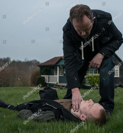 Dan Spencer, as played by Liam Fox, braces himself as he arrives at the cricket pavilion and sees Josh, as played by Conner Chapman, lying motionless with blood seeping out of his head. He dials 999 but then ends the call but someone's watching in the shadowsÉ (Ep 7828 - Thur 18 May 2017)