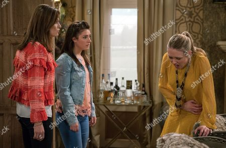 Rebecca White, as played by Emily Head, has stomach pains and Chrissie White, as played by Louise Marwood, rushes her to hospital fearing she may be about to lose the baby. (Ep 7837 - Mon 29 May 2017)