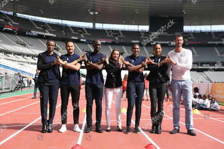 Stock Photo of Eunice Barber, Mehdi Baala, Leslie Djhone, Marie-Amelie Le Fur, Muriel Hurtis, Christine Arron and Alain Bernard