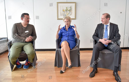 Stock Image of (L-R) Peter Cachola Schmal, director of German architectural museum, Petra Roth, former Mayor of Frankfurt and Albert Reicherzer, executive vice president of Commerzbank talk during a press conference of Commerzbank in Frankfurt Main, Germany, 15 May 2017. The Commerzbank Tower, with 250m highest building in Frankfurt, celebrates its 20th birthday.