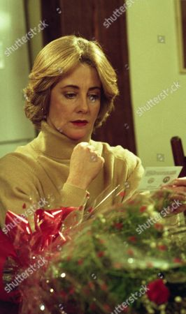 Kathy sends red roses to Bernard and Angharad is furious - With Angharad McAllister, as played by Amanda Wenban (Ep 1931 - 20th December 1994).
