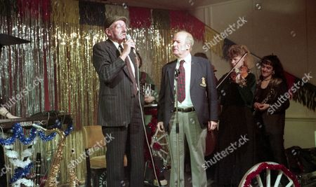 It's the village barn dance - With Seth Armstrong, as played by Stan Richards, and Amos Brearly, as played by Ronald Magill. (Ep 1934 - 29th December 1994).
