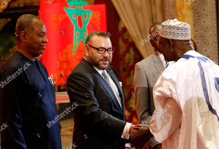 Mohammed VI, Geoffrey Onyeama, Ahmed A. Rufai Morocco's King Mohammed VI, center, Nigerian foreign Minister Geoffrey Onyeama, left and SSAP Foreign affairs Ahmed A. Rufai from Nigeria welcome Nigerians delegation after a ceremony for the signing of documents of the Nigeria-Moroccan gas pipeline project that will connect the two nations as well as some other African countries to Europe at the king Palace in Rabat, Morocco