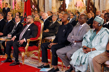 Mohammed VI, Saadeddine Othmani, Geoffrey Onyeama, Ahmed A. Rufai, Mohammed Badaru Abubakar From left to right : Morocco's new Prime Minister Saadeddine Othmani, King Mohammed VI, Nigerian foreign Minister Geoffrey Onyeama, SSAP Foreign affairs Ahmed A. Rufai from Nigeria and Nigerian Executive Governor Mohammed Badaru Abubakar, attend a ceremony for the signing of documents of the Nigeria-Moroccan gas pipeline project that will connect the two nations as well as some other African countries to Europe at the king Palace in Rabat, Morocco, . at left Morocco's new Prime Minister Saadeddine Othmani