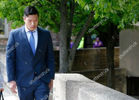 "Raymond Lam leaves the Monroe County Courthouse in Stroudsburg, Pa., . Lam pleaded guilty to voluntary manslaughter in the death of Chun ""Michael"" Deng, a fraternity pledge at Baruch College in New York"