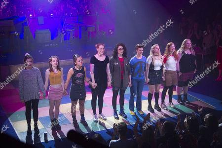 Isis Hainsworth (Orla), Kirsty MacLaren (Manda), Frances Mayli McCann (Kylah), Amy Shackcloth (Musical Director/Keyboard), Emily Linden (Guitars/Bass/Mandolin), Becky Brass (Percussion), Dawn Sievewright (Fionnula), Karen Fishwick (Kay) and Caroline Deyga (Chell) during the curtain call