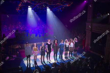 Stock Image of Isis Hainsworth (Orla), Kirsty MacLaren (Manda), Frances Mayli McCann (Kylah), Amy Shackcloth (Musical Director/Keyboard), Emily Linden (Guitars/Bass/Mandolin), Becky Brass (Percussion), Dawn Sievewright (Fionnula), Karen Fishwick (Kay) and Caroline Deyga (Chell) during the curtain call