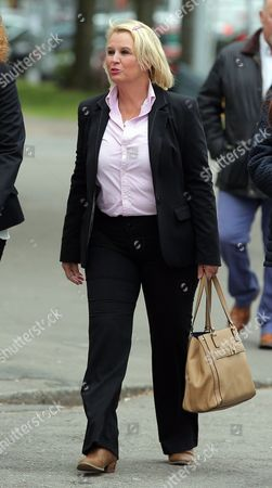 Jackie Taylor the mother of Sophie Taylor, arrives with friends and family at Cardiff Crown Court