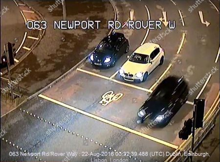 CCTV screen grab showing the BMW driven by Sophie Taylor chased by Melissa Pesticcio and Michael Wheeler