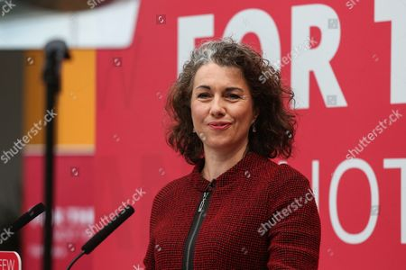Sarah Champion introduces Labour leader Corbyn as he launches the Labour Party's 2017 general election manifesto at an event at Bradford University in West Yorkshire.