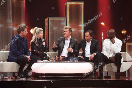 Oliver Geissen, Beatrice Egli, Dieter Bohlen, Andre Selleneit, Bruce Darnell