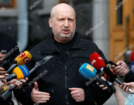 Secretary of Ukraine's National Security and Defense Council Oleksandr Turchynov speaks to the media in Kiev, Ukraine, . In another round of sanctions in response to Russia's annexation of Crimea, Ukrainian President Petro Poroshenko on Monday ordered the blocking of access to Russia's most popular social media websites and search engines