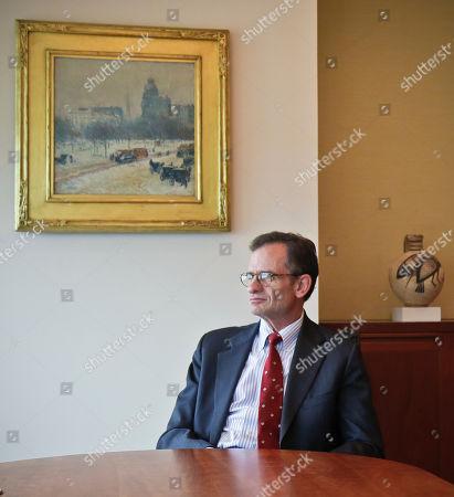 Metropolitan Museum of Art president Dan Weiss listens during an interview in his office, in New York