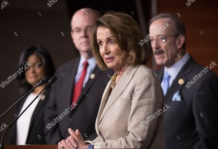Nancy Pelosi, Pramila Jayapal, James P. McGovern, Eliot Engel House Minority Leader Nancy Pelosi of Calif., second from right, joined by, from left, Rep. Pramila Jayapal, D-Wash., Rep. James McGovern, D-Mass., and Rep. Eliot Engel, D-N.Y., speaks during a news conference on Capitol Hill in Washington, to reflect on their visit to meet with the Dalai Lama and support for Tibet