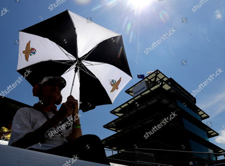 Paul Edwards watches during a practice session for the Indianapolis 500 IndyCar auto race at Indianapolis Motor Speedway, in Indianapolis