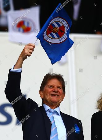 Sir John Madejski waves a Reading flag before kick off during the Sky Bet Championship Play-off semi-final second leg match between Reading and Fulham played at The Madejski Stadium, Reading on 16th May 2017