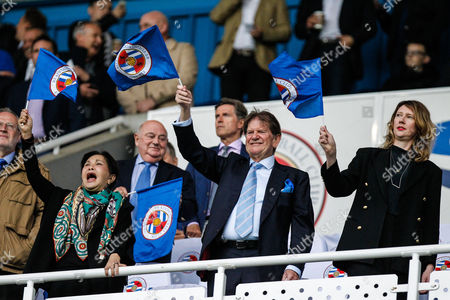 John Madejski waves a Reading flag, before the EFL Sky Bet Championship play off second leg match between Reading and Fulham at the Madejski Stadium, Reading
