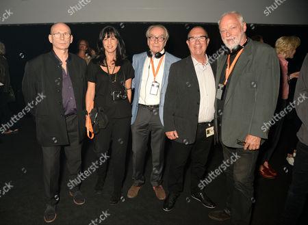 Paul Loasby, Polly Samson, Gerald Scarfe, Aubrey Powell and David Gilmour