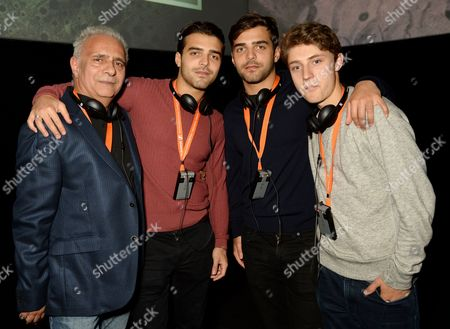 Hanif Kureishi with Carlo Kureishi, Sachin Kureishi and guest