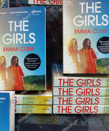 Stock Image of The Girls bestselling novel by Emma Cline in London bookshop window