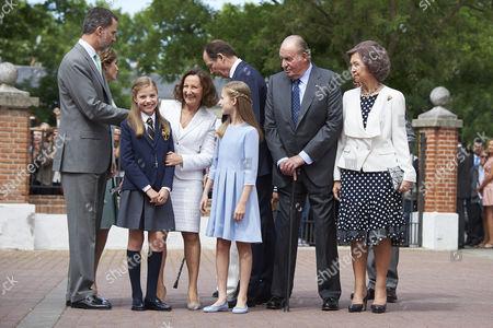 King Felipe VI of Spain, Menchu del Valle, Princess Sofia aka Infanta Sofía, Paloma Rocasolano, Crown Princess Leonor, King Juan Carlos of Spain, Former Queen Sofia of Spain, Konstantin of Bulgary, Jesus Jose Ortiz Alvarez