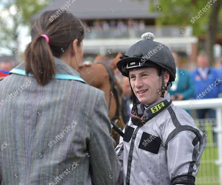 Blond Me?s jockey, Oisin Murphy chats to trainers wife Anna Lisa Balding after winning The Betfred Middleton Stakes @ York Racecourse on Thursday 18th May 2017.