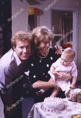 Christopher Quinten (as Brian Tilsley), Helen Worth (as Gail Tilsley) and Lynsay King (as Sarah Platt)