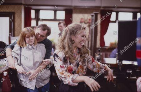 Sally Watts (as Sandra Stubbs), William Tarmey (as Jack Duckworth) and Sue Jenkins (as Gloria Todd)