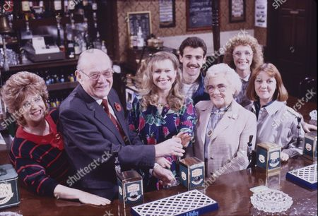 Barbara Knox (as Rita Fairclough), Cast member, Sue Jenkins (as Gloria Todd), Michael Le Vell (as Kevin Webster), Cast member, Anne Kirkbride (as Deirdre Barlow) and Sally Watts (as Sandra Stubbs)