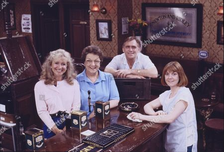 Sue Jenkins (as Gloria Todd), Betty Driver (as Betty Turpin), William Tarmey (as Jack Duckworth) and Sally Watts (as Sandra Stubbs)