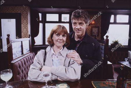 Sally Watts (as Sandra Stubbs) and Alan Hunter (as Pete Shaw)