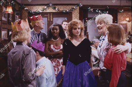 Sally Dynevor (as Sally Webster), Kevin Kennedy (as Curly Watts), Lisa Lewis (as Shirley Armitage), Sally Ann Matthews (as Jenny Bradley), Elizabeth Dawn (as Vera Duckworth) and Sally Watts (as Sandra Stubbs)