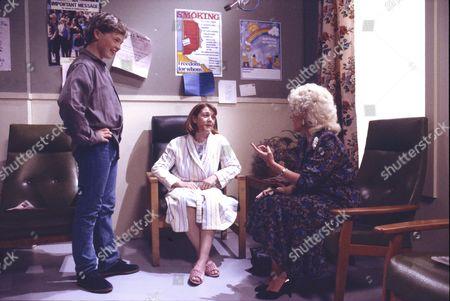 Paul Simpson (as Jason Stubbs), Sally Watts (as Sandra Stubbs) and Julie Goodyear (as Bet Gilroy)