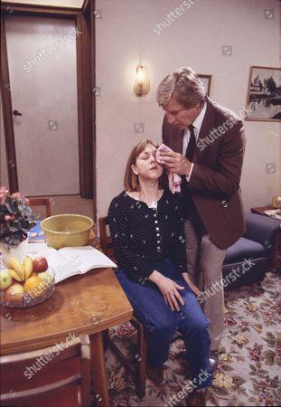 Sally Watts (as Sandra Stubbs) and William Roache (as Ken Barlow)