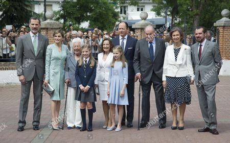 King Felipe VI ; Menchu Alvarez; Queen Letizia ; Paloma Rocasolano; Konstantin of Bulgaria; Princess Leonor ; Princess Sofia aka Infanta Sofía ; Former Queen Sofia ; former King Juan Carlos I; Jesus Ortiz