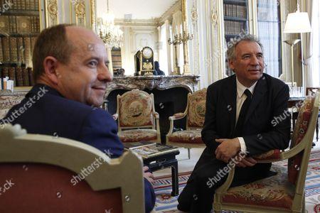 Stock Image of Jean-Jacques Urvoas and Francois Bayrou