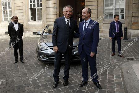 Stock Photo of Jean-Jacques Urvoas and Francois Bayrou