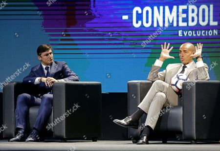 """Javier Zanetti, David Trezeguet Argentina's soccer stars David Trezeguet, right, and Javier Zanetti attend the symposium """"Let's Discuss Soccer"""" at the Conmebol Museum Hall in Luque, Paraguay"""
